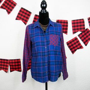 Multi- pattern plaid flannel